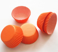 Free Shipping 300pcs Bright Orange Cupcake Liners Baking Cups Party Decorations Base33mm Height20mm