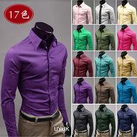 2014 New Joker Pure Color Long Sleeve Shirt, 17 Kinds Of Color, High Quality Men Shirt Size: M ~ XXXL CN0169