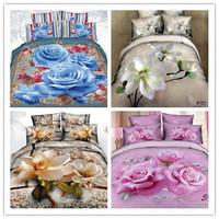 Good Quailty/magnolia duvet cover Set/queen quilt cover set/3d bed sheets/pink wedding bedding/3d oil painting bedding sets/