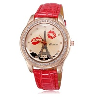 Fashion Eiffel Tower rose gold plated watch women luxury quartz analog crystal diamonds leather chain free shipping