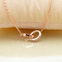 Free shipping Necklaces & Pendants two Round gold plated Zircon Pendant Necklace Circle Necklace women Jewelry Lover