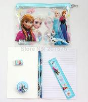 NEW 50 sets (7 in 1) Frozen Purple princess pattern stationery set / school supplies / pencil /notebook / eraser / kid gift