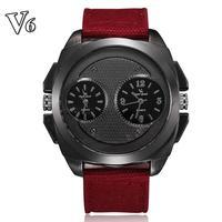 2014 New sport watch men brand dual dial quartz movement analog water resistant fabric straps wristwatch brand free shipping