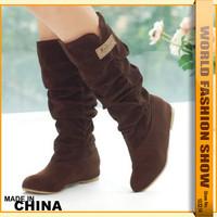 Plus size 34-43 Fashion Women's Half Knee Long Boots Winter Hidden Wedges Shoes Casual Dress Shoes Autumn Boots