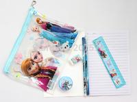 lot 20 sets (7 in 1) Frozen princess pattern stationery set / school supplies /pencil case / ruler / sticker / eraser / kid gift