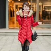 Women's cotton-padded jacket 2013 winter women's medium-long down cotton-padded jacket wadded jacket female thickening