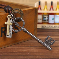 Free shipping Vintage key cowhide necklace male Women key accessories pendant personalized handmade necklace