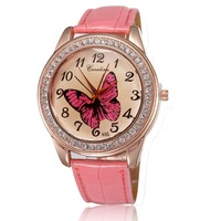 Free shipping Women watches brand 2014 fashion rose gold plated clock pu leather straps with rhinestones quartz analog wholesale