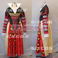 Alice's Adventures in Wonderland the Queen of Hearts anime Halloween Christmas cosplay costumes free shipping