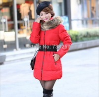 New 2014 down jacket winter cotton coat thicken Slim female fox fur collar and long coat women parka winter coat plus size 4XL