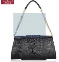 Shoulder diagonal handbag crocodile pattern leather handbag clutch bag with a chain