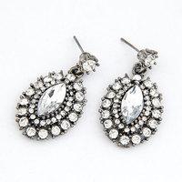 Europea Fashion Resin Stone Stud Earring Silver Metal Women Earring Brief