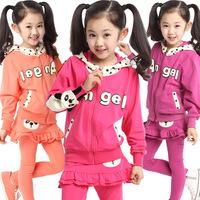 2014 autumn fall winter children kids clothing cute cartoon panda suit girls hoodies set 6-14