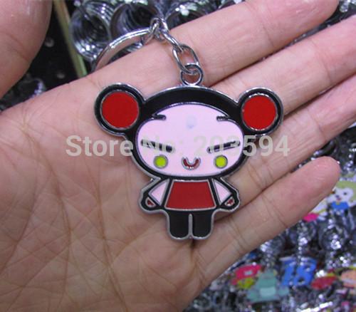 HJSJK Hot Sale 10pcs Key Ring Cute Alloy Enamel new style PUCCA key chain(China (Mainland))