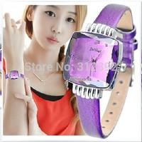 Julius Fashion Lady Quartz Wrist Watch Square Jelly 6 color Genuine Leather Strap Students Watch JA-673