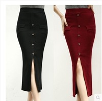 new fashion spring autumn winter 2014 knitted plus size sexy open fork high waist casual long pencil skirt women skirts female