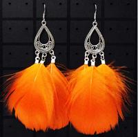 wholesale 6pairs bohemia feather earrings traditional handmade earring long drop earrings artist ear jewelry for dancing