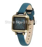Julius Fashion Lady Quartz Wrist Watch Square Genuine Leather Strap Blue JA-551