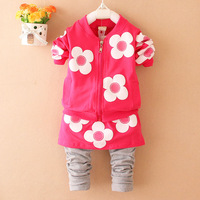 2014 autumn children's clothing female child set zipper sweater twinset baby long-sleeve sports set