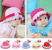 Brand New 2014 Cute Baby Girls Sun Polka Dot hearts Soft Cotton Summer Hat Cap 3-24 Months Children Hat HOT SALE