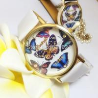 300 pcs/lot Fashion Crystal 3D Butterfly Quartz Watch Geneva Polymer Clay Handmade Watches Cartoon Flower Women Dress Wristwatch