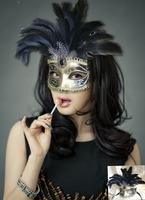 2014 Free shipping Handmade flash shallops powder masquerade party feather mask