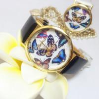 100 pcs/lot Fashion Crystal 3D Butterfly Quartz Watch Geneva Polymer Clay Handmade Watches Cartoon Flower Women Dress Wristwatch