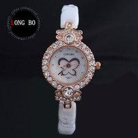 Boutique butterfly design LONG BO brand white ceramic Rhinestones watches 30 m waterproof watches Fashion women watch