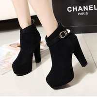2014 New European and American belt buckle women boots with thick round bottomed platform thick heel boots women's shoes