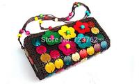 The creative handbag Coconut shell package national  shoulder bag Aslant female bag One shoulder hand dual-use bag