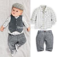Free shipping 2014 Autumn New Arrival boy gentleman set, vest + shirt + pants 3 pieces set,baby clothing set,5sets/lot wholesale