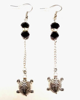 50 Pair Fashion Vintage Silver Cute Turtle &Crystal Bead Charm   Long Dangle Earrings  For Woman Jewelry DIY X378