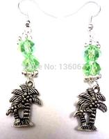 50 Pair Fashion Vintage Silver  Palm Tree &Crystal Bead Charm   Long Dangle Earrings  For Woman Jewelry DIY X379