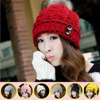 New Handmade Fashion Wool Beanie Cap Hip-Hop Knitted Hats Women's Ear Hairball Winter Hat Warm Casual Cute Skullies Female Caps