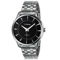 SINOBI 9502 Men's Fashionable Analog Quartz Wrist Watch with Stainless Steel Band (Black)