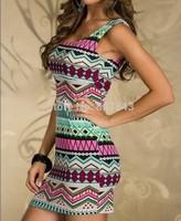 retail 2014 HOT SALE Sexy Womens Sleeveless Dress Patchwork Aztec Print Club Wear