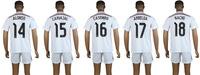 Best quality 100% Polyester Real Madrid 2014/15 CARVAJAL CASEMIRO white soccer jersey set ARBELOA NACHO football shirt kit 2015