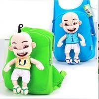 2014 New Arrival Upin & Ipin Plush school  Backpack  Children   bag  Boy  School Bags Cartoon Bag