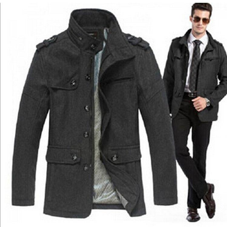 men's clothing parkas 2014 overcoat men wool coat winter lon