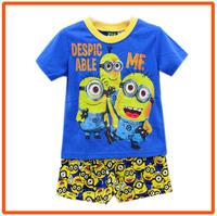 Boys Minions Clothing Set Children T-Shirts & Shorts Sets New 2014 Wholesale Children Cartoon ShortSleeve Clothes BB-77