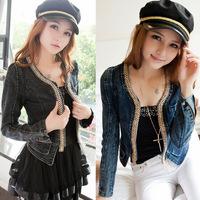 Free Shipping Spring 2014 New Korean Female Models Vintage Stretch Denim Jacket Jacket Short Paragraph Real Shot