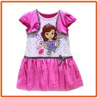 Girls Sofia Princess Dresses New 2014 Girls Summer Short-Sleeves Cotton Casual Cartoon Dress 4pcs/lot XH-7467
