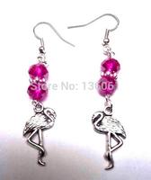 50 Pair Fashion Vintage Silver Flamingo  &Crystal Bead Charm   Long Dangle Earrings  For Woman Jewelry DIY X385