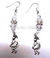 50 Pair Fashion Vintage Silver Kokopelli  &Crystal Bead Charms   Long Dangle Earrings  For Woman Jewelry DIY X390