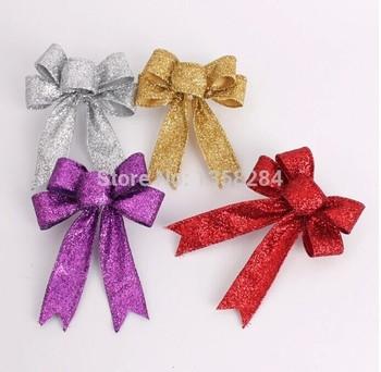 13см ткань золота/серебро/красный/фиолетовый елочные украшения лук кулон 15g