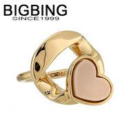 Bigbing jewelry fashion Golden Chain heart polishing ring wedding ring nickel free Free shipping! F485