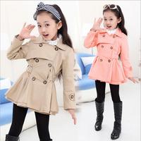2014 autumn new Korean cotton girls windbreaker jacket double-breasted coat girls Outerwear&Coats size120-160 free shipping