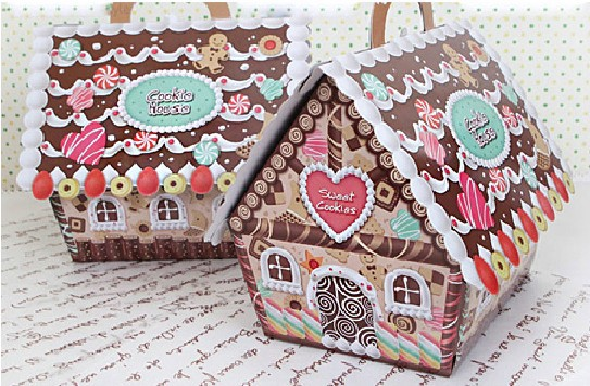 New arrival Christmas house candy box/Christmas gingerbread house box /cake decoration- free shipping(China (Mainland))