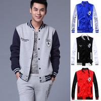 New 2014 Fall Men College Varsity Casual Baseball Jacket Sportswear Coat,Sport Suit Outdoor Tracksuit