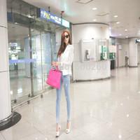 DROPSHIPPING 2014 New Top Coat Sexy Sheer Lace Blazer Lady Suit Outwear Women OL Formal Slim Jacket Black White S M L XL